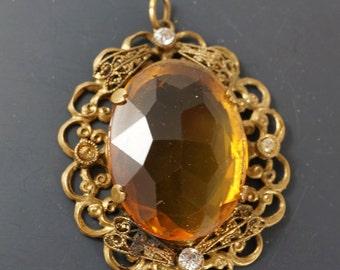 Victorian Pendant / brass / citrine glass paste / antique / vintage 1800s No.00508