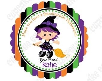 DIY Halloween #4  Personalized Gift Tag PRINTABLE tag sticker label witch