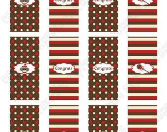 INSTANT DOWNLOAD diy  Sock Monkey Baby Shower  PRINTABLE Mini Candy Bar Wrappers red brown favors treats