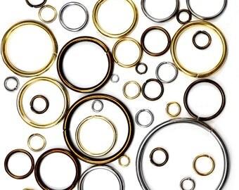 50 pcs O-rings metal - webbing straps collars craft 9 12 15 20 29 31 37 39 50 69 mm