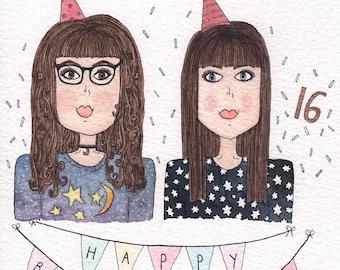 Custom Birthday Illustration - Gift for friends, family, partners - 13th, 16th, 18th, 21st, 30th keepsake