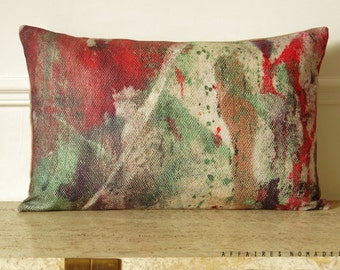 "Asian  inspired throw pillow. Linen abstract art printing oblong pillow case 14""x 22"" .. Coral orange & boho green .. Carpe koi / FRAGMENTS"