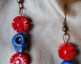 Dia De Los Muertos Calavera Flower Dangle Earrings