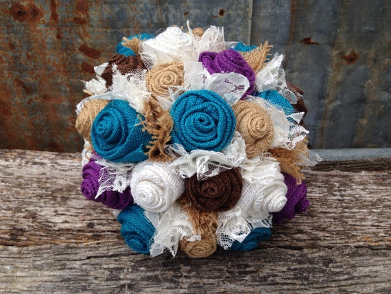 Turquoise And Purple Burlap Lace Brides Bouquets