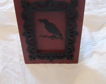 Gothic Victorian Mixed Media Framed Crow Tabletop Art Display Decor