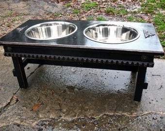 Elevated Dog Bowl Feeder - Extra Large Dogs, 2 Five Quart Bowls, Black Distressed Feeding Station,  Cottage Chic Style Made To Order