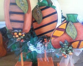 Wood Halloween Pumpkin TRIO set  Shelf sitter or Office desk  Table center piece