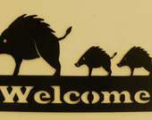 Javelina Welcome sign, Metal Art, Office, Business, Home, Cabin,Boar, Wild Pig, Wild Boar