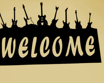 Guitar,Welcome Sign,Rocker,Music,Metal Art,Band,Rock and Roll,Gig,Heavy metal