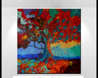 Large Original  Painting 48 x 48 -  Red Oak - Modern Landscape  Painting  Abstract Art