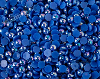 100 - Royal Blue AB Pearl Flatback Resin Decoden Cabochons, Half Pearl Cabochons, Flatback Pearls, Flat Back Pearls 8MM (R4-065)