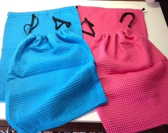 Great Summer Colors available for Personalized Embroidered Waffle Weave Shoe/Lingerie Bag