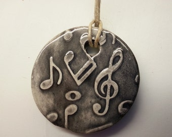 Music Notes, Handmade Ceramic Pendant Necklace