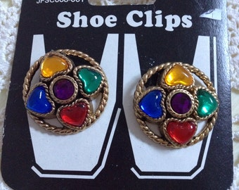 Vintage Pair Of Never Used Shoe Clips With Multi - Colored Lucite Cabachon Hearts ~ Dead Stock ~ On Original Card ~ New Old Stock ~ 1990's