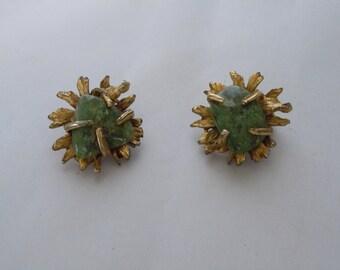 Vintage Pair Greenstone Jade Asymmetrical Clip Earrings Brushed Gold Prong Set BSK