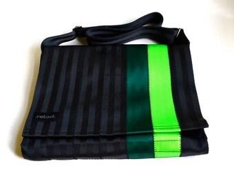 Seatbelt Shoulder Bag - Crossbody Messenger Bag - Black, Emerald Green and Lime (M-7)