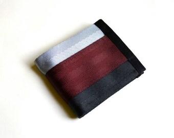 Vegan Billfold Wallet - Oxblood, Silver, and Black - Velcro Wallet (SBW-V3)