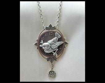 Vintage Victorian Steampunk Floating Leaf Clockface Bird Focal Pendant Necklace