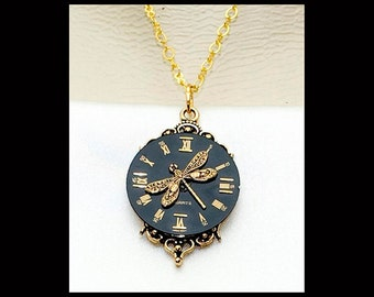Vintage Victorian Steampunk Filigree Clockface Dragonfly Focal Clock Pendant Necklace