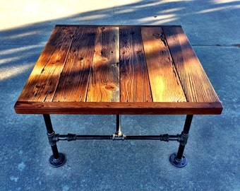 """Square Industrial Coffee Table made with Reclaimed Wood and Black Pipe -- 32"""" x 32"""" x18"""""""