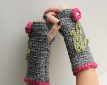 Handmade Fingerless Gloves, Gray Fngerless Gloves, Women's Fashion Gloves, Fashion Girl's Fingerless Gloves, FREE SHIPPING