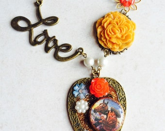 Mexican Love Collage Necklace, Heart Statement Photo Necklace