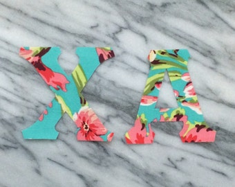 Sorority letters - big little sorority letters - iron on Greek Letters - set of 2 or 3 - teal and pink floral