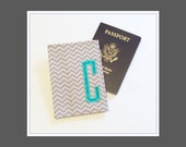 Personalized Passport Cover Destination Wedding Bridesmaid Maid of Honor Gift MADE TO ORDER Gray Turquoise Graduation Birthday Mother's Day