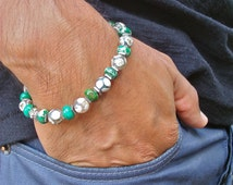 Men's Spiritual Healing Protection, Contentment, and Love Bracelet with Semi Precious Green Imperial Jasper, Hematites, Agates, Bali Beads