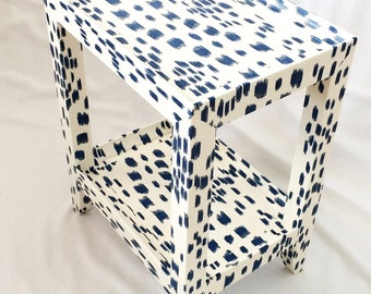 Karl Springer Style Table Covered In Les Touches Fabric - Custom Made to Order