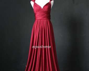 Bridesmaid Dress Maroon Plum Infinity Dress Wrap Convertible Dress Jersey Formal Dress Gown