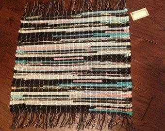 Handwoven Rag Rug, Woven Rug, Repurposed, Recycled Fabrics. Striking black, cream, pink and turquoise rug