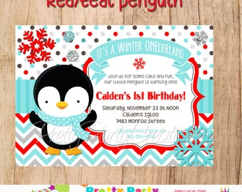 RED/TEAL PENGUIN invitation  - You Print