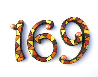 """Set of 3 Mosaic Numbers in 6"""" Height, house numbers, mosaic home decor, exterior numbers, house address numbers"""