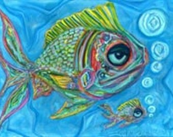 Momma & Baby Fish-Fine art giclee print in larger sizes-see variations-fish art-art fish-coastal art-beach house-ocean art-fish painting-art