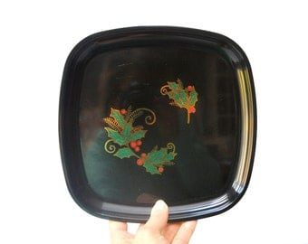Vintage Holly Couroc Tray
