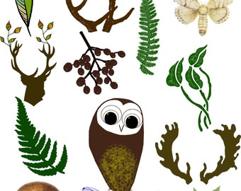 Woodland Clipart, Forest Digital Images, Antlers, Fern, Owl, Nature Woodland Images, Forest Wood Cliparts