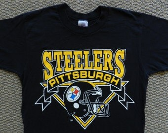 vintage Pittsburgh Steelers T Shirt 50/50 80s soft tee USA Logo 7 thin Medium NFL helmet