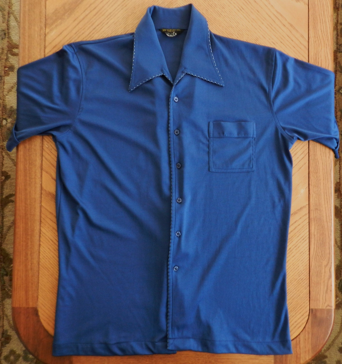 Vintage 1970s polyester shirt short sleeve button up navy blue for Polyester button up shirt