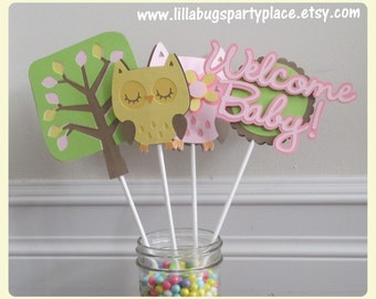 Owl Baby Shower, Girl Baby Shower, Pink Owl, Welcome Baby Centerpieces