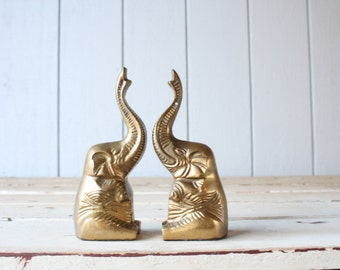 Vintage Brass Elephant Bookends // Solid Brass
