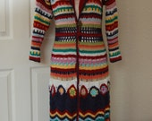 Womans Multicolor Coat Crochet Duster Size small/medium