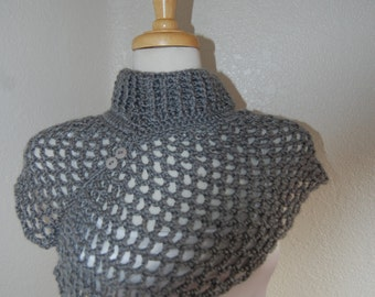 Crochet  Neckwarmer Asymetrical in Heather Grey with buttons