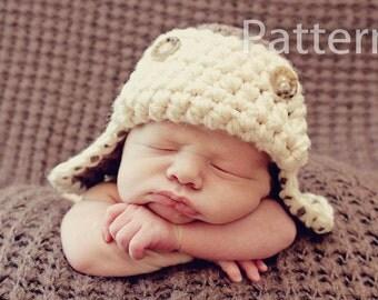 PDF CROCHET PATTERN Aviator Hat, Baby Boy Hat, Crochet Baby Hat, Baby Newborn Hat, Baby Hat, Newborn Prop, Baby Boy, Newborn Boy Hat