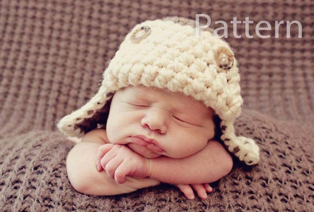 Free Crochet Pattern For Aviator Hat : PDF CROCHET PATTERN Aviator Hat Baby Boy Hat Crochet Baby
