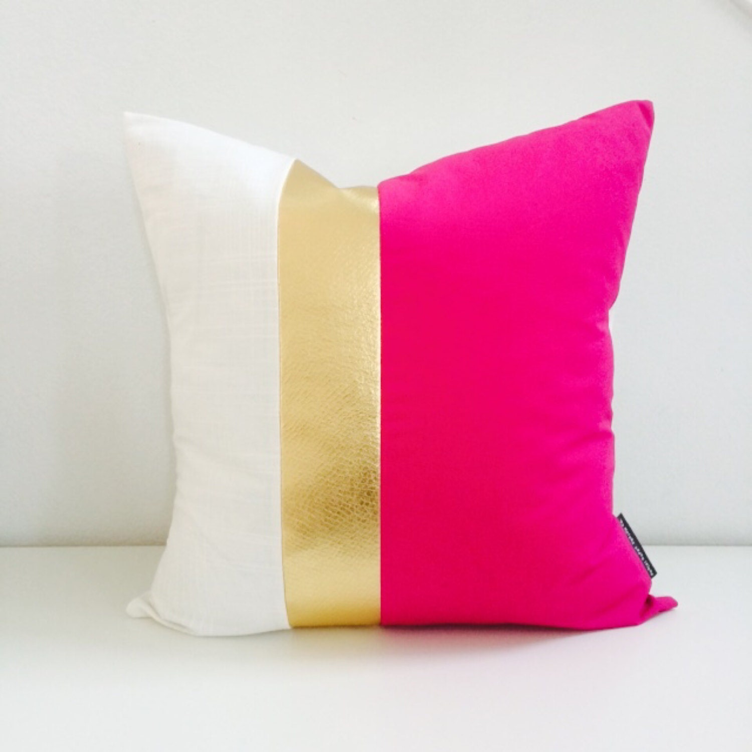 Hot Pink Gold Pillow Cover two size choices 16 18 or 20 Cushion Fuchsia White and Metallic Faux ...
