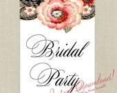 INSTANT DOWNLOAD - Vintage Colorful Rustic Flowers Signs for Head Table - Bride & Groom, Head Table, Bridal Party, Just Married - DIY