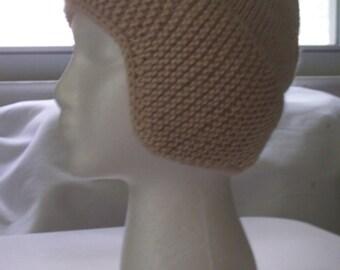 Hat, ear flap, earflap, beanie, snowboard, ski hat, winter hat, warm hat, oatmeal color, one size
