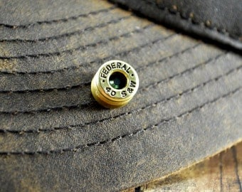 Bullet Hat Pin/Tie Tack Brass Federal 40 S&W Shell Recycled Repurposed with Blue Metallic Swarovski Gem