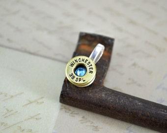 Bullet Necklace ~ Shell Casing 38Special with Aquamarine Swarovski Gem Pendant Necklace